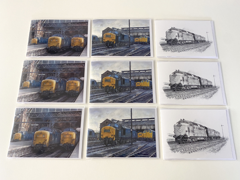 Mixed Pack of 9 Diesel Train Greeting Cards