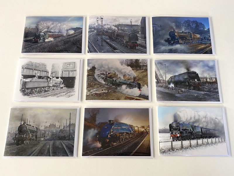 Mixed Pack of 9 Steam Train Greeting Cards